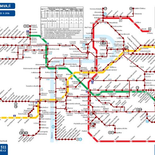 Схема маршрутов трамваев в Праге